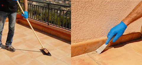 Pulire bene il terrazzo e togliere muschi e residui.